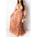 Elegant Tiered Pleated Dress Floral Pattern Belted A-Line Maxi Puff Long Sleeve Slim Fitted Deep V Neck Dress