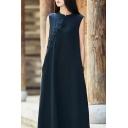 Vintage Womens Dress Plain Linen and Cotton Mandarin Collar Frog Button Maxi A-line Dress