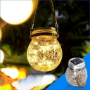 1 Pc Simplicity Wishing Jar Solar Suspension Lighting Clear Crackle Glass Courtyard LED Pendant Light