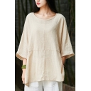 Leisure Womens T Shirt Linen and Cotton 3/4 Sleeve Round Neck Plain Relaxed Fit T Shirt