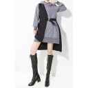 Stylish Dress Patchwork Asymmetric Long Sleeve Hooded Belted High Low Short A-line Hoodie Dress in Gray