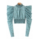 Popular Womens Shirt Ditsy Floral Print Puff Sleeve Mock Neck Regular Fit Crop Shirt Top in Blue