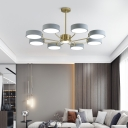 Radial LED Pendant Ceiling Light Nordic Metal Brass Finish Chandelier with Round Acrylic Shade