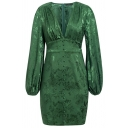 Plain Fashionable Lantern Sleeve Deep V Neck Button Up Dark Green Mini Jacquard Dress for Evening Party