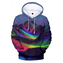 Popular Boys Blue Long Sleeve Drawstring Colorful Mountain 3D Print Relaxed Hoodie with Pocket