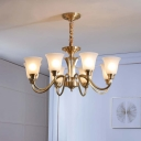 Traditional Style Bell Shade Chandelier Opal Frosted Glass Ceiling Light in Brass for Living Room