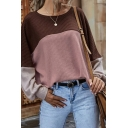 Stylish Womens Sweater Color Block Knit Long Sleeve Round Neck Loose Fit Pullover Sweater Top