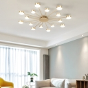 Gold Circular LED Semi Flush Mount Post-Modern Acrylic Close To Ceiling Chandelier for Living Room