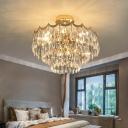 Layered Crystal Droplets Flush Chandelier Modern 9 Lights Gold Semi Flush Light for Bedroom