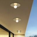 Gold Ball Ceiling Mounted Fixture Minimalist 1 Head White Glass Flush Light for Balcony