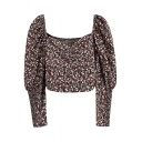 Pretty Womens Shirt Ditsy Floral Print Long Sleeve Sweetheart Neck Ruched Fit Crop Shirt in Brown