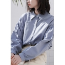 Fancy Women's Shirt Solid Color Button Fly Point Collar Long Sleeve Regular Fitted Shirt