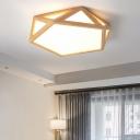 Pentagon Faceted Led Flush Ceiling Light Modern Acrylic Wood Flush Mount Fixture for Bedroom