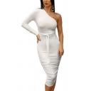 Stylish Womens Dress Plain Single Sleeve Tied Waist Mid Sheath Dress in White