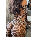 Fashionable Womens Jumpsuit Leopard Printed Bell Sleeve Off Shoulder Ankle Skinny Jumpsuit in Brown