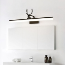 Linear LED Vanity Wall Light Minimalistic Metal Wall Mounted Lamp with Decorative Antler