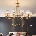 Circular Pendant Chandelier Post-Modern Metal Hanging Light with Conical Crystal Shade