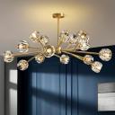Faceted Cut Crystal Ball Chandelier Light Postmodernist Suspension Lighting in Gold