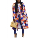 Womens Fashion Trench Coat Colorblock Geometric Plaids Printed Single Breasted Long Loose Notch Collar Long Sleeve Coat