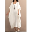 Leisure Womens Dress Linen Solid Color Batwing Sleeve Scoop Neck Maxi Oversize Dress in White