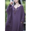 Chinese Style Dress Linen and Cotton Plain Long Sleeve V-neck Longline Oversize Dress for Women