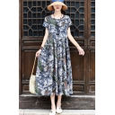 Womens Leisure Dress Allover Printed Short Sleeve Round Neck Mid Pleated A-line Dress in Gray