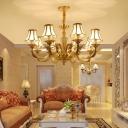Glass Panel Gold Suspension Light Scalloped Minimalism Chandelier Light for Living Room