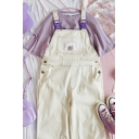 Preppy Girls Sleeveless Buckle Straps Bear Embroidered Pocket Panel Button Detail Roll Edge Ankle Baggy Suspender Pants