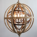 Traditional Globe Ceiling Lighting 4 Bulbs Distressed Wood Chandelier Light Fixture for Restaurant