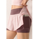 Cool Womens Shorts Anti-Emptied Breathable 2-in-1 Side Pocket Quick Dry Stretch Slim Fitted Yoga Shorts