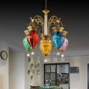 Moroccan Teardrop Chandelier 6 Bulbs Multicolored Glass Hanging Light in Gold for Restaurant