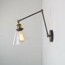 1-Light Wall Mount Light Industrial Tapered Clear Glass Wall Light Fixture with Long Arm