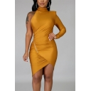 Chic Fancy Ladies Long Sleeve One-Shoulder Bow-Tie Waist Slit Front Asymmetric Satin Fit Mini Wrap Dress in Gold