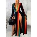 Fashionable Womens Dress Gradient Color High Slit Deep V Neck Long Sleeve A-Line Swing Dress