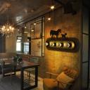Modern Silhouette Sconce Light Iron 4 Heads Restaurant Wall Light Fixture in Black