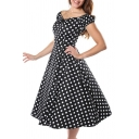 Fashionable Womens Polka Dot Printed Button Front Ruched Zipper Open Back Off the Shoulder Short Sleeve Midi Fit&Flare Dress