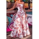 Fashionable Womens Dress Allover Floral Printed Tied Shoulder Ruffled Hem Maxi A-line Tank Dress