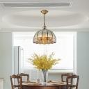 Water Glass Half-Globe Ceiling Light Traditional 6-Light Dining Room Pendant Chandelier in Brass