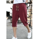 Mens Retro Chinese Style Frog Button Embellished Hem Drawstring Waist Plain Linen Lounge Shorts