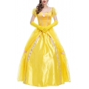 Amazing Yellow Dress Puff Sleeve Sweetheart Neck Contrasted Maxi Swing Dress with Glove
