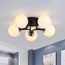 Opaline Glass Ball Flush Ceiling Light Nordic Style Semi Mount Lighting for Bedroom