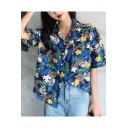 Summer Holiday Tropical Leaf Pattern Short Sleeve Camp Shirt for Women