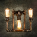 Bronze 3-Bulb Wall Light Sconce Factory Iron Water Pipe Wall Lighting Fixture for Restaurant