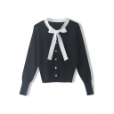 Pretty Ladies Cardigan Pearl Button Contrasted Bow-tied Neck Long Sleeve Regular Knit Cardigan