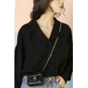 Trendy Women's Shirt Solid Color Spread Collar Button up Chest Pocket Long Sleeve Regular Fitted Shirt