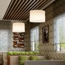 Simplicity Drum Hanging Pendant Light 1-Bulb Fabric Pendulum Light for Restaurant