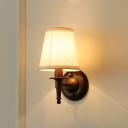Fabric Cone Shape Wall Lighting Countryside 1-Light Living Room Sconce Light in Dark Coffee