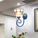 Floral Wall Light Sconce 1-Light Glass Mediterranean Wall Lamp with Swirling Arm