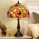 Antiqued Brass Shaded Table Lamp Tiffany 1-Bulb Handcrafted Stained Glass Night Light