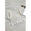 Glamorous Womens Solid Color Patchwork Lace Trim Crew Neck Short Sleeve Slim Fit Crop Top Tee